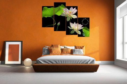 Tranh hoa Sen treo tường phòng khách đẹp sang trọng amia 116-06
