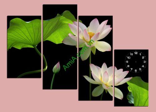 Tranh hoa Sen treo tường phòng khách đẹp sang trọng amia 116