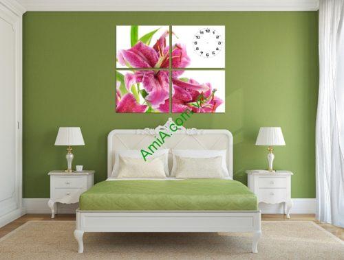 Tranh đồng hồ treo tường hoa Ly ghép bộ 4 tấm Amia 190-01