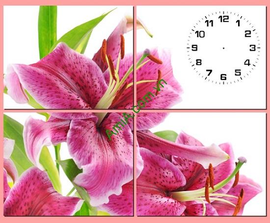 Tranh đồng hồ treo tường hoa Ly ghép bộ 4 tấm Amia 190