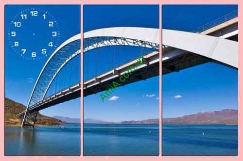 Tranh đồng hồ treo tường phòng khách Chiếc Cầu Amia 163