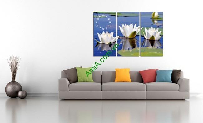 Tranh đồng hồ treo tường phòng khách hoa Súng Amia 172-01
