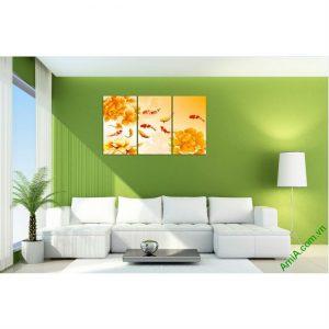 Tranh ghép bộ treo tường phòng khách Cửu Ngư Amia 410-00