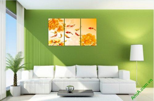 Tranh ghép bộ treo tường phòng khách Cửu Ngư Amia 410-01