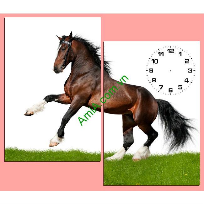 Tranh ghép đồng hồ treo tường phòng khách ngựa chiến Amia 147-00