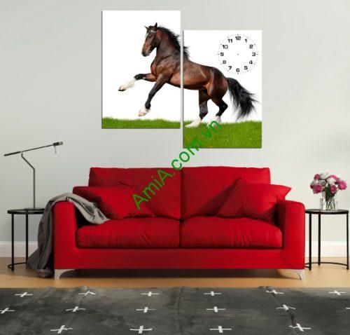 Tranh ghép đồng hồ treo tường phòng khách ngựa chiến Amia 147-01
