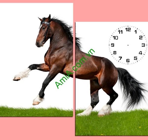 Tranh ghép đồng hồ treo tường phòng khách ngựa chiến Amia 147