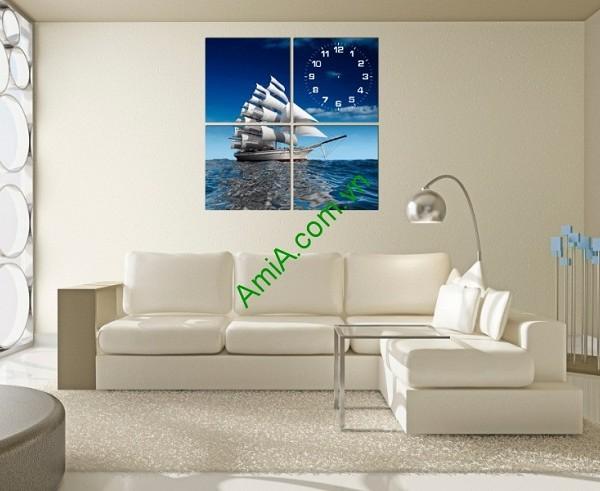 Tranh ghép đồng hồ treo tường thuyền buồm bộ 4 tấm-01