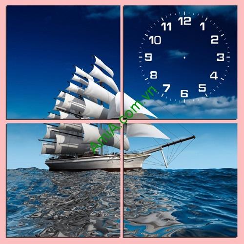 Tranh ghép đồng hồ treo tường thuyền buồm bộ 4 tấm