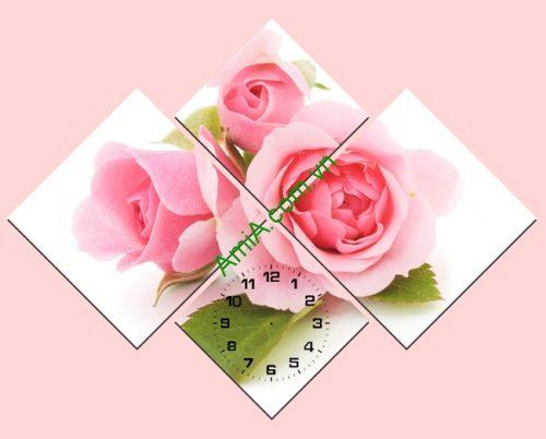 Tranh ghép nghệ thuật treo tường Hoa Hồng 4 tấm Amia 182