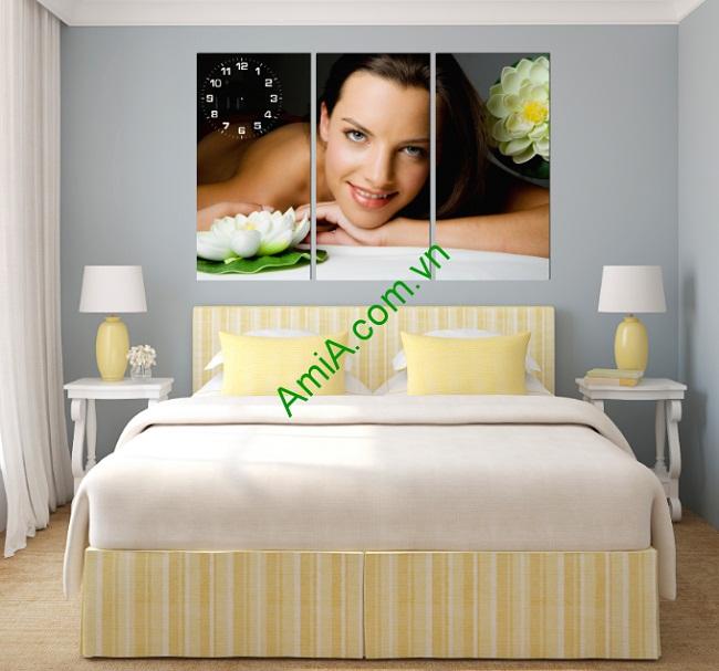 Tranh ghép nghệ thuật treo tường phòng ngủ Hình Cô Gái-01