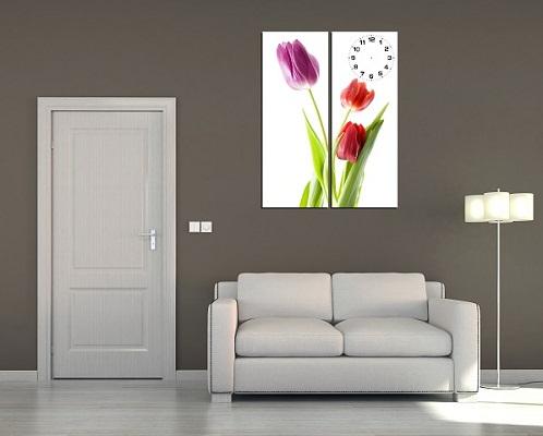 Tranh ghép treo tường hiện đại Hoa Tulip 2 tấm Amia 198-01