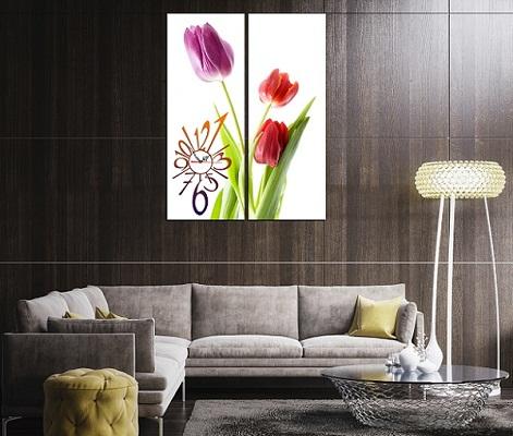 Tranh ghép treo tường hiện đại Hoa Tulip 2 tấm Amia 198-02