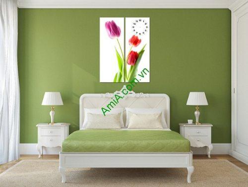 Tranh ghép treo tường hiện đại Hoa Tulip 2 tấm Amia 198-03