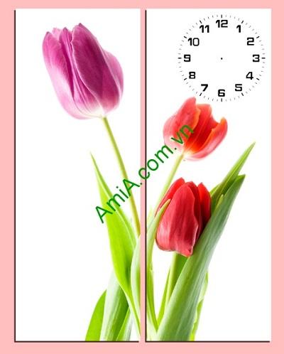 Tranh ghép treo tường hiện đại Hoa Tulip 2 tấm Amia 198