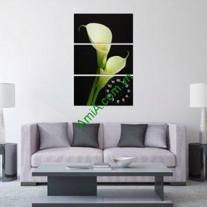 Tranh ghép treo tường kiểu đứng hoa Loa Kèn Amia 185-00