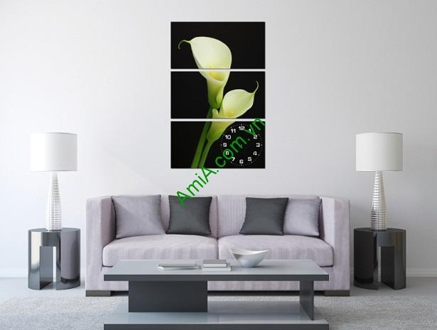 Tranh ghép treo tường kiểu đứng hoa Loa Kèn Amia 185-01