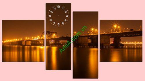 Tranh phong cảnh treo tường Cầu Long Biên Về Đêm