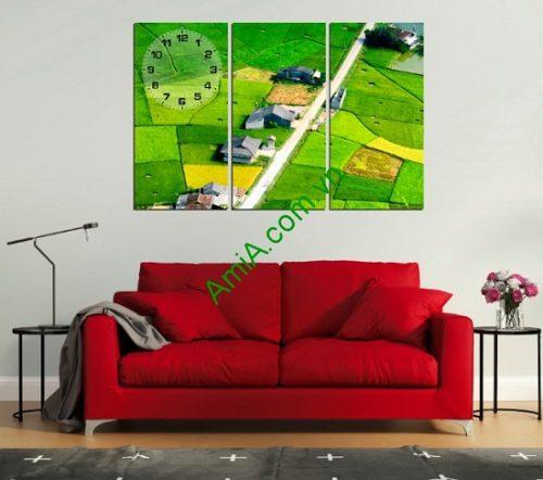 Tranh phong cảnh treo tường phòng khách Cánh Đồng Quê-01