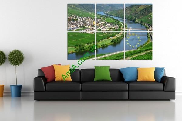 Tranh phong cảnh treo tường phòng khách dòng sông xanh Amia 156-01