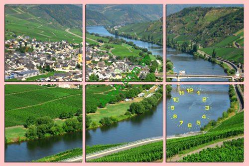Tranh phong cảnh treo tường phòng khách dòng sông xanh Amia 156