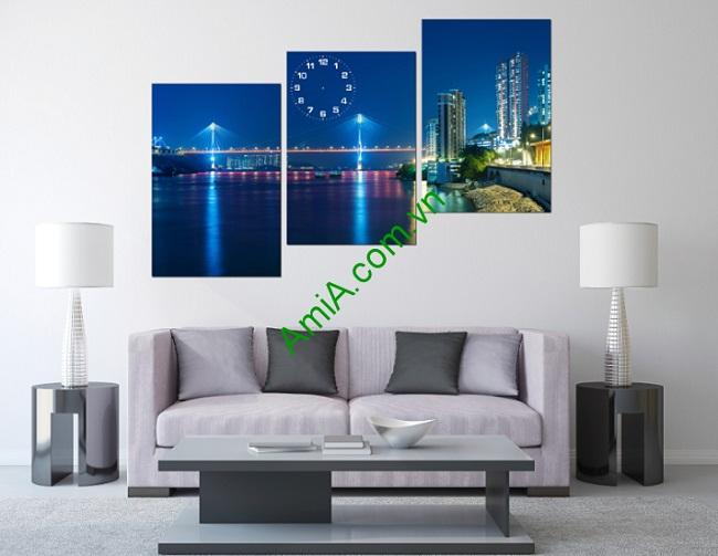 Tranh phong cảnh treo tường Thành phố về đêm Amia 164-01