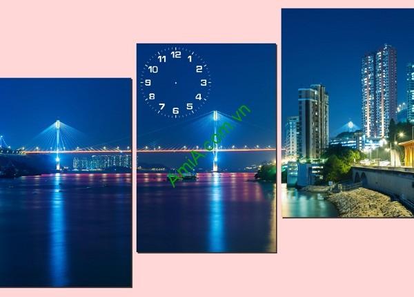 Tranh phong cảnh treo tường Thành phố về đêm Amia 164