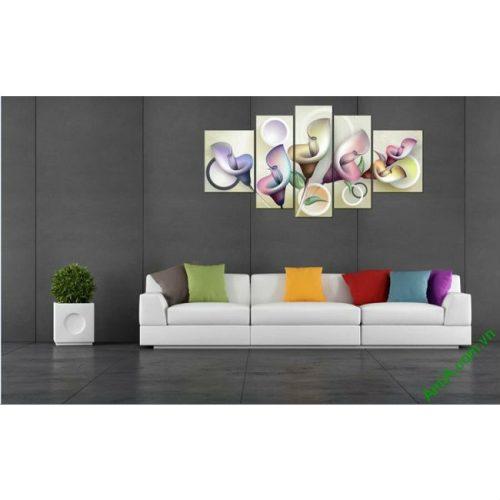 Tranh treo tường Vector hoa Zum ghép bộ 5 tấm Amia 411-00