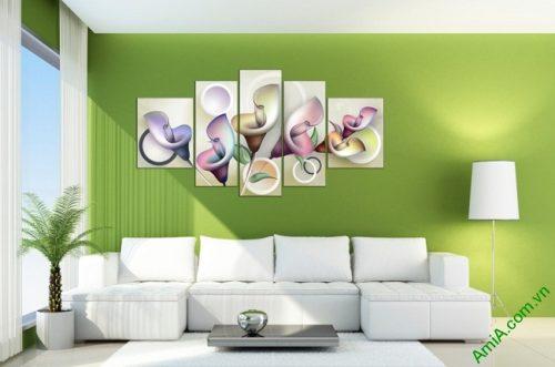 Tranh treo tường Vector hoa Zum ghép bộ 5 tấm Amia 411-01