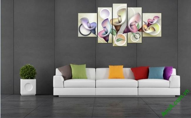 Tranh treo tường Vector hoa Zum ghép bộ 5 tấm Amia 411-02