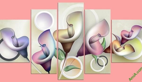 Tranh treo tường Vector hoa Zum ghép bộ 5 tấm Amia 411