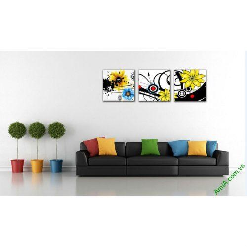 Tranh treo tường Vector hoa lá trang trí hiện đại Amia 413-00