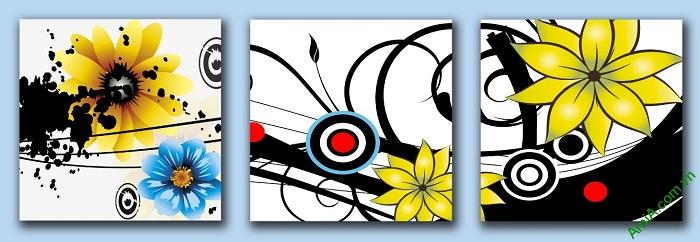 Tranh treo tường Vector hoa lá trang trí hiện đại Amia 413