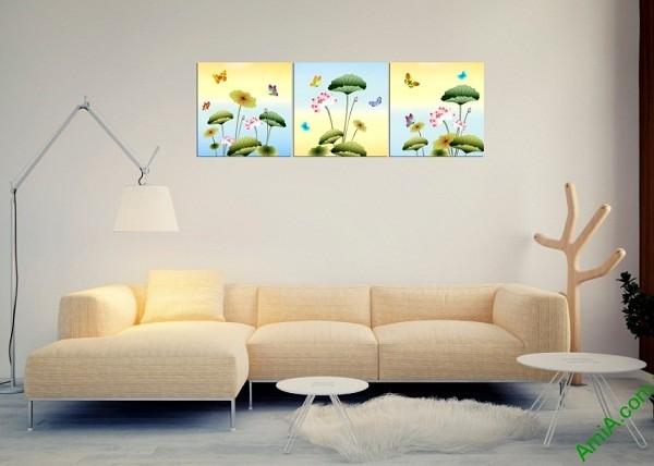Tranh treo tường ghép bộ 3 tấm Hoa Bướm Amia 408-01