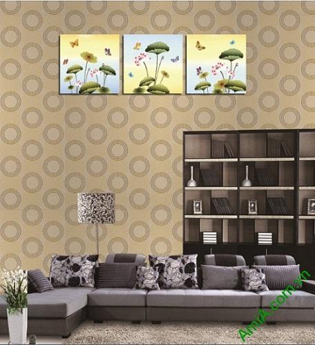 Tranh treo tường ghép bộ 3 tấm Hoa Bướm Amia 408-02