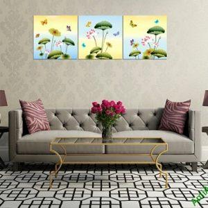 Tranh treo tường ghép bộ 3 tấm Hoa Bướm Amia 408-03