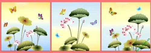 Tranh treo tường ghép bộ 3 tấm Hoa Bướm Amia 408