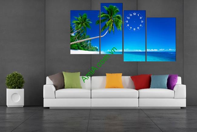 Tranh treo tường ghép nghệ thuật Biển Xanh 4 tấm Amia 177-01
