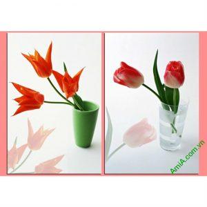 Tranh treo tường hoa lá ghép bộ 2 tấm Amia 406-00