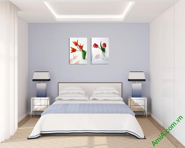 Tranh treo tường hoa lá ghép bộ 2 tấm Amia 406-02