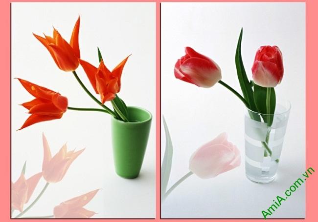 Tranh treo tường hoa lá ghép bộ 2 tấm Amia 406