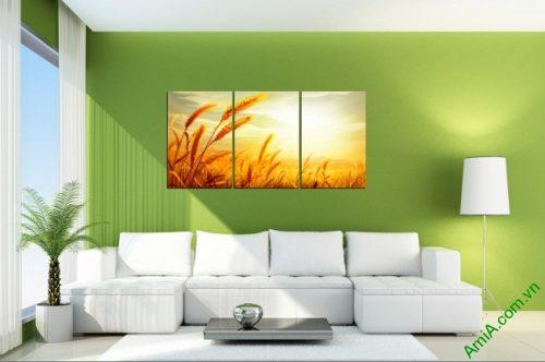 Tranh treo tường phòng khách Cánh đồng lúa mì Amia 407-01