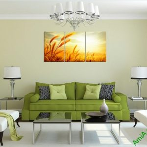 Tranh treo tường phòng khách Cánh đồng lúa mì Amia 407-02