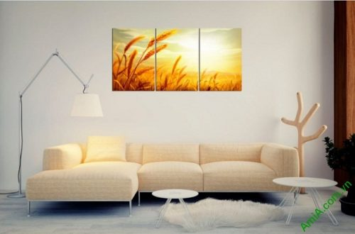 Tranh treo tường phòng khách Cánh đồng lúa mì Amia 407-03