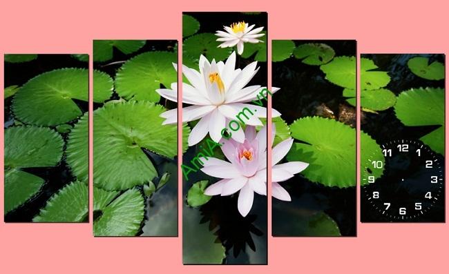 Tranh treo tường phòng khách khổ lớn hoa Súng Amia 171