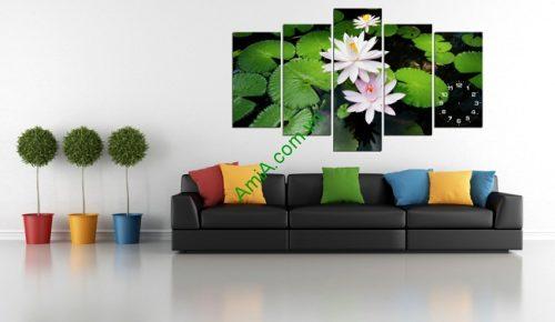 Tranh treo tường phòng khách khổ lớn hoa Súng Amia 171-01