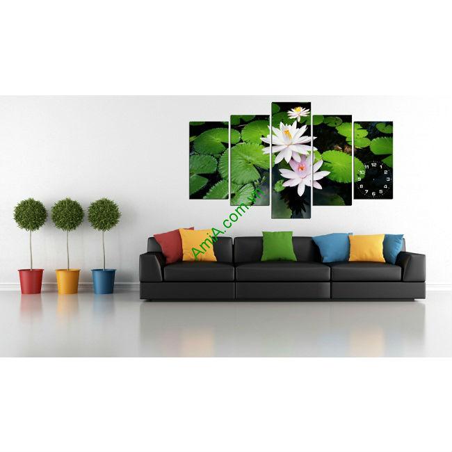 Tranh treo tường phòng khách khổ lớn hoa Súng Amia 171-00