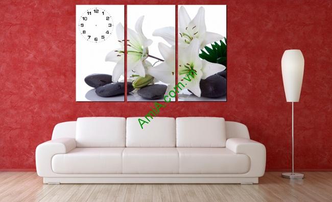 Tranh treo tường phòng khách, phòng ngủ Hoa Ly Trắng-01