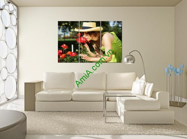 Tranh treo tường phòng khách, phòng ngủ Người đẹp và hoa-01