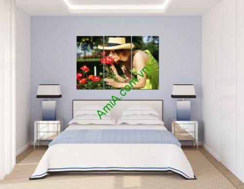 Tranh treo tường phòng khách, phòng ngủ Người đẹp và hoa-02